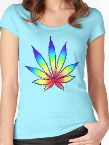 Rainbow Dope Leaf Women's Fitted Scoop T-Shirt