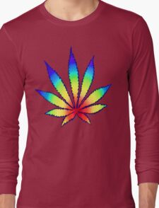 Rainbow Dope Leaf Long Sleeve T-Shirt