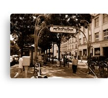 metro sign paris Canvas Print