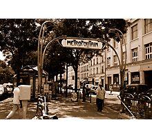 metro sign paris Photographic Print