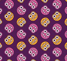 Purple Pink And Orange Cute Bugs Pattern by Boriana Giormova