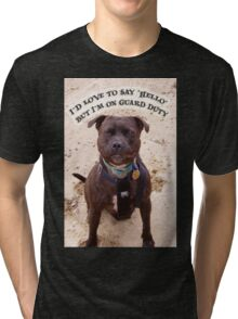 """""""I'd Love to Say Hello, but I'm on Guard Duty"""" Tri-blend T-Shirt"""