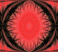 Red and black mandala. by Marilyn Baldey