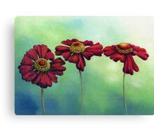 Three Red Helenium Flowers Canvas Print