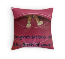 birth congratulations Throw Pillow