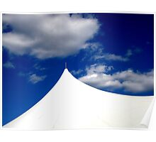 White Tent Blue Sky Poster