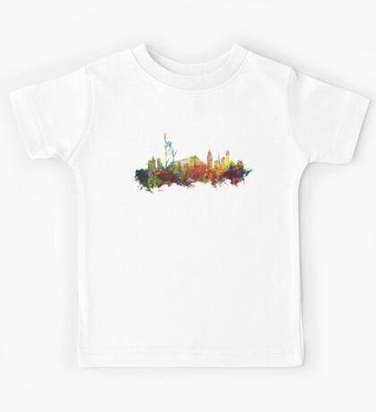 Colored New York City skyline Kids Tee