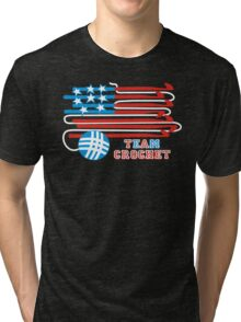 Team crochet USA flag patriotic crochet hooks Tri-blend T-Shirt