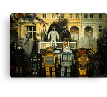 Vintage Robots in a window Canvas Print