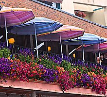 Colorful Sidewalk Cafe by John Butler