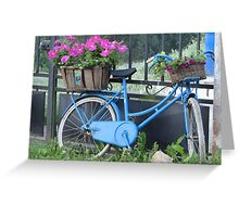 The blue bike with flowers Greeting Card