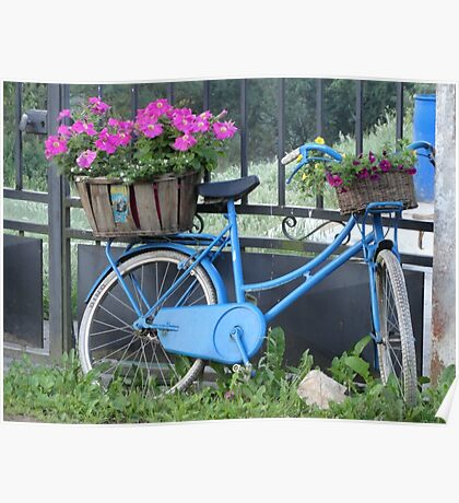 The blue bike with flowers Poster