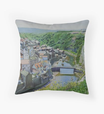 Staithes viewed from Cowbar Throw Pillow