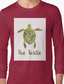 Patterned floral watercolor turtle illustration Long Sleeve T-Shirt
