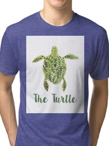 Patterned floral watercolor turtle illustration Tri-blend T-Shirt
