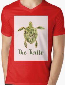 Patterned floral watercolor turtle illustration Mens V-Neck T-Shirt