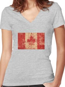 Canadian grunge flag - Canada Women's Fitted V-Neck T-Shirt