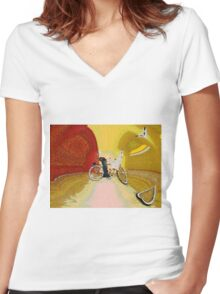 Invisible Beach Cruiser Women's Fitted V-Neck T-Shirt
