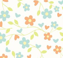 Cute blue orange abstract floral pattern by Maria Fernandes