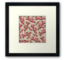 Vintage white jute girly pink floral pattern Framed Print