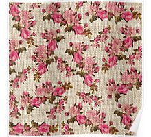Vintage white jute girly pink floral pattern Poster