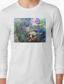 Constellation Dragon Abstract Watercolor Painting Long Sleeve T-Shirt