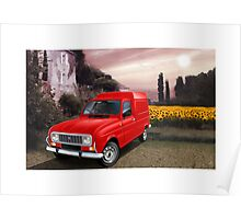 Renault R4 F6 Van with sunflowers Poster