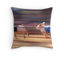 Pig Racing Throw Pillow