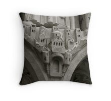 A village carved on Notre Dame's Wall Throw Pillow