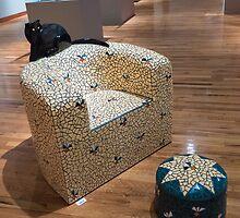 Patio Chair with Black Cat by Thad Zajdowicz