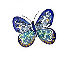 Colorful Tribal Butterfly painting by Artist Christie Marie Elder Photographic Print