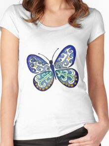 Colorful Tribal Butterfly painting by Artist Christie Marie Elder Women's Fitted Scoop T-Shirt