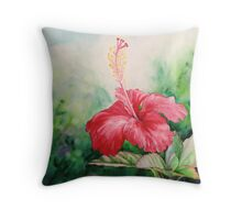 """""""Aloha"""" Tropical Red Hibiscus Hawaiian Flower Painting by Christie Marie Elder Throw Pillow"""