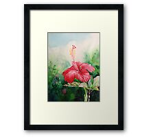 """Aloha"" Tropical Red Hibiscus Hawaiian Flower Painting by Christie Marie Elder Framed Print"