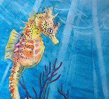 """Sea Freckles"" Tropical Sea Horse watercolor painting by Christie Marie Elder by Christie Elder"