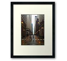 Walking in Chicago Rain Framed Print
