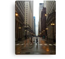 Walking in Chicago Rain Canvas Print