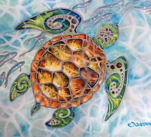 """Honu Island Waters"" Tropical Tribal Sea Turtle Painting by Christie Marie Elder by Christie Elder"