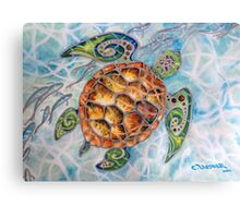"""Honu Island Waters"" Tropical Tribal Sea Turtle Painting by Christie Marie Elder Canvas Print"