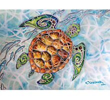 """Honu Island Waters"" Tropical Tribal Sea Turtle Painting by Christie Marie Elder Photographic Print"