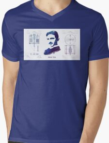 Nikola Tesla Patent Art Electric Arc Lamp Mens V-Neck T-Shirt