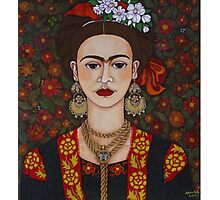 Frida Kahlo with butterflies  Photographic Print