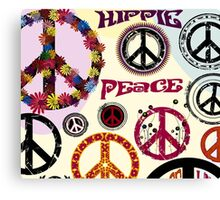 Flower Power Peace And Love Hippie  Canvas Print