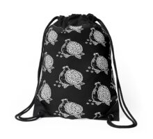 Pomegranate woodblock in WHITE Drawstring Bag