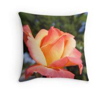 Orange And Yellow Rose Bud Throw Pillow