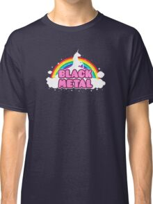 BLACK METAL! (Funny Unicorn / Rainbow Mosh Parody Design) Classic T-Shirt