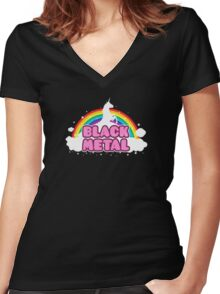 BLACK METAL! (Funny Unicorn / Rainbow Mosh Parody Design) Women's Fitted V-Neck T-Shirt