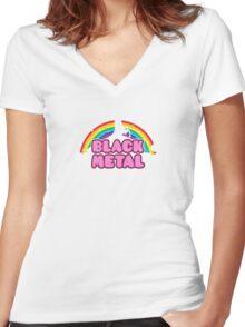 BLACK METAL! (Funny Unicorn / Rainbow Mosh Parody Design) Women's Fitted V-Neck T-Shirt