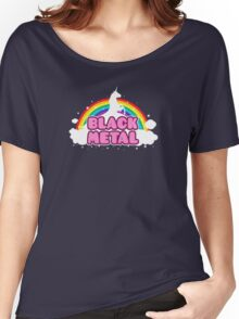 BLACK METAL! (Funny Unicorn / Rainbow Mosh Parody Design) Women's Relaxed Fit T-Shirt