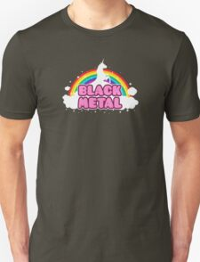 BLACK METAL! (Funny Unicorn / Rainbow Mosh Parody Design) Unisex T-Shirt